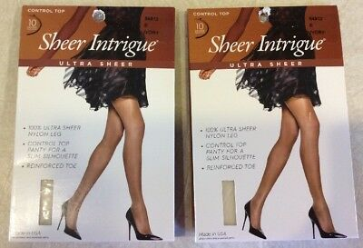 8fb6ce75f SHEER INTRIGUE WOMEN S 100% Ultra Sheer Nylon 2 PAIR Pantyhose Ivory Size E  NWT -  8.99