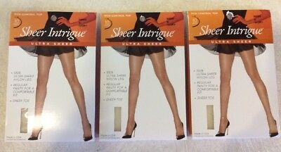 2523c30f2 Sheer Intrigue Women s 100% Ultra Sheer Nylon 3 PAIR Pantyhose Ivory Size E  NWT