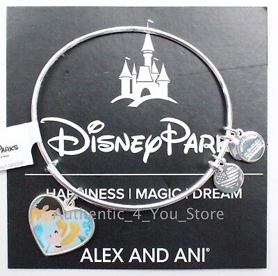 NEW Disney ALEX AND ANI Cinderella and Prince Charming Heart SILVER Bracelet