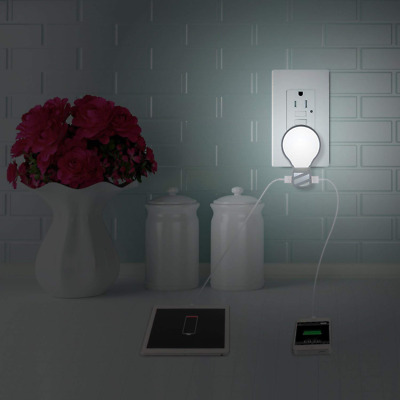 Plug in LED Night Light 5V 2.1A+1A Dual USB Wall Charger Adjustable Brightness