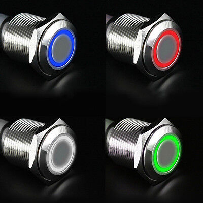 Metal LED Illuminated Latching 16mm Power Push Button Switch Car Dash 12V