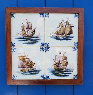 Set of 4  dutch Makkum framed tiles  different ships.