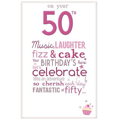 Little Thoughts Happy 50th Birthday Card Envelope Greetings Card
