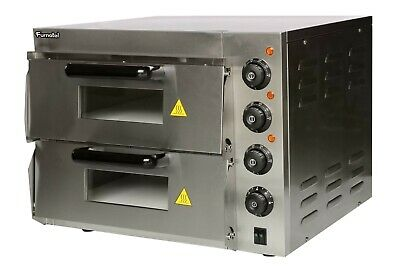 """NEW Pizza Oven Double Deck Electric Stone Base 2x16"""" FULL stainless steel oven"""