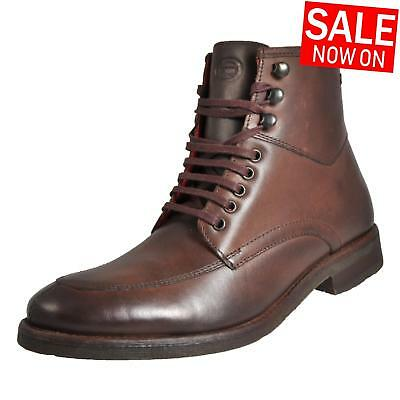 Base London Norwood Leather Formal Dress Designer Military Ankle Boots Brown