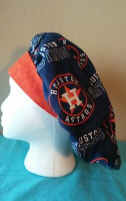 Houston Astros Bouffant Women's Surgical Scrub Hat/Cap Handmade