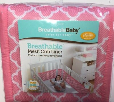 BreathableBaby - Classic Mesh Crib Liner, Clover Pink