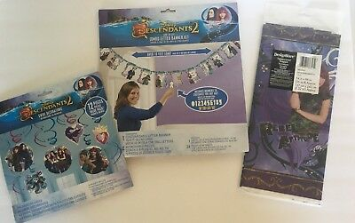 Descendants 2 Birthday Party Supplies Banner Table Cloth Swirl Decorations