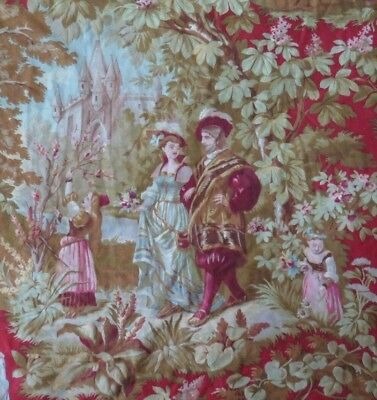 """Antique French c1870 Midieval Style Cotton Personnage Toile Fabric~1yd24""""LX31""""W"""