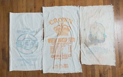 LOT 3 Vintage Cloth Sacks Sugar Wheat