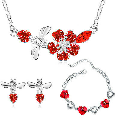 Silver Deep Red Jewellery Set Hearts Flower Drop Earrings Necklace Bracelet S657