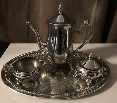 Gorgeous Rayleigh Vintage Silver Coffee/Tea Service with Oval Tray!