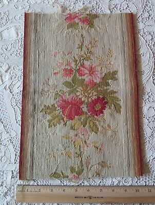 Antique 1850-1860 Aubusson Silk & Wool Hand Loomed Floral Tapestry Fabric Piece