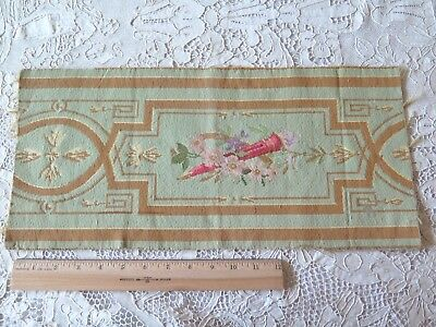 "Antique French 19thC ""Aubusson Style"" Wool Tapestry Fabric Piece~Sea Green"