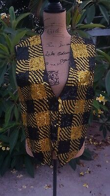 Vintage 80's Theo Size Medium Gold and Black Sequined Vest