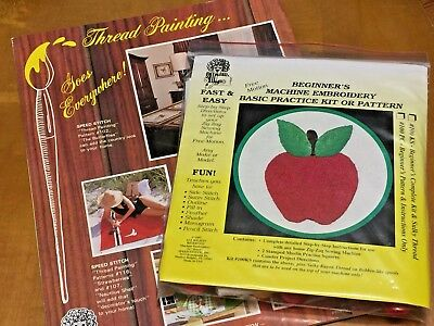 Vintage THREAD PAINTING Book & Machine Embroidery Applique Starter Kit Patterns