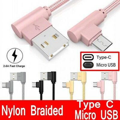 Braided 90 Degree Right Angle Type C / Micro USB Fast Data Sync Charger Cable LC