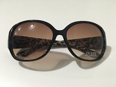 1e389d5f647b Guess Women s Nwot Brown Big Round Sunglasses 100% Uv Protection Animal  Print