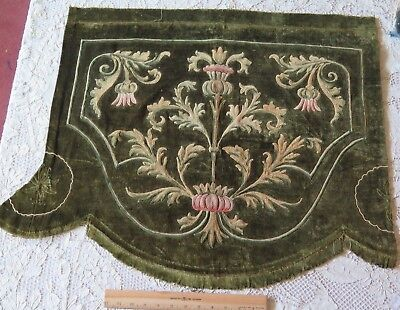 Antique (1840-1860) Green French Velvet Pelmet With Hand Jacobean Embroidery