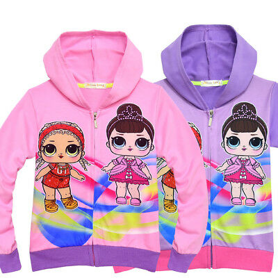 New Girls Cute LOL Surprise Doll Zipper Hooded Sweatshirt Hoodies Pockets Jacket