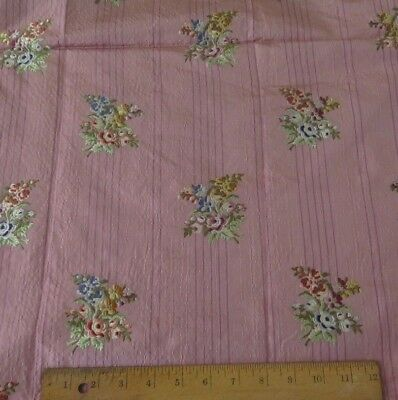 """Antique French 1900 Pink Silk Hand Embroidered Floral Brocade Fabric~1yd20""""LX50"""""""