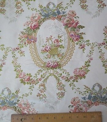 Antique 19thC French Silk Brocade Fabric~Roses,Baskets&Ribbons~Frame Layout