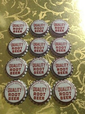 Unused QUALITY ROOT BEER by Coca Cola Bottling Co. Cork Lined Bottle Caps 12 NOS