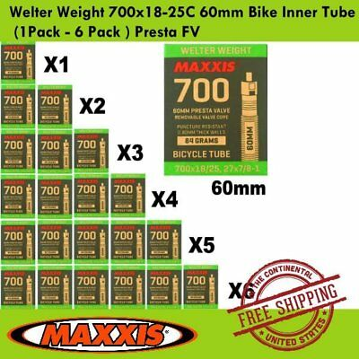 1Pack 6 Pack Maxxis Welter Weight 700x18-25C 80mm Bike Inner Tube Presta FV