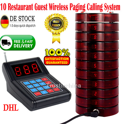 10 Restaurant Coaster Pager Guest Call Wireless Paging Queuing Calling System de
