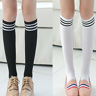 77e50486529 1Pair Sweet Lolita Ribbon Over Knee Socks Thigh-High Gothic Punk Emo Cosplay