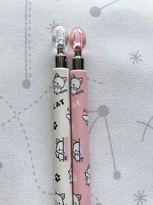 2pcs Cat 0.7mm Mechanical Pencil White Pink Cute Stationery Kawaii Animals Gifts