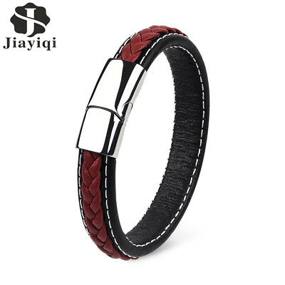 JYQ Men 's Leather Bracelet Punk Style Fashion Jewelry Concise Leather Bracelet