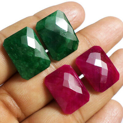 72Ct+ Natural Top Quality Emerald Ruby Checker Cut Lot of 2 Pair Matched Earring