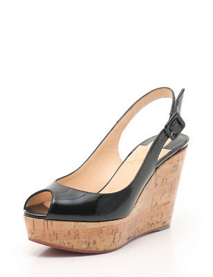 f31b0e5606e Christian Louboutin UNE PLUME SLING 100 Wedge sole sandals enamel leather  black