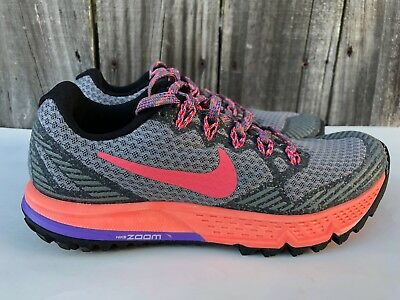 WOMEN'S NIKE AIR Zoom Wildhorse 3 Trail Running Shoes Gray Size 5 749337 008
