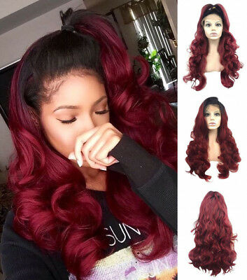 AU STOCK Lace Front Wig Wave Synthetic Hair Ombre Bug Heat Resistant Hair Wigs