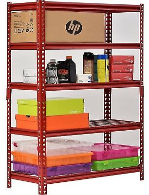 "Muscle Rack 5 Shelf Steel Shelving Unit 60"" x 18"" x 72"" Red Metal Storage Rack"