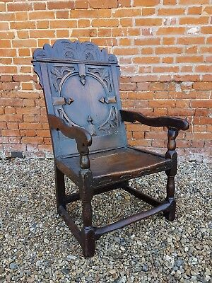 17thC Westmorland-Made English Antique Oak Wainscot Chair, Circa 1690 Armchair