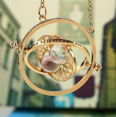 Time Turner Necklace Hermione Granger Vintage Pendant Hourglass for Women Girl