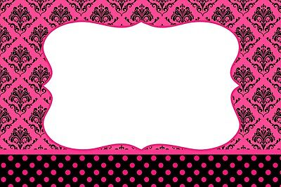 SET OF 6 X PERSONALISED 89 x120.7MM PINK DAMASK WINE BOTTLE LABEL