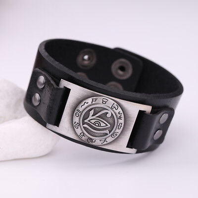 Ancient Talisman Evil Eye of Horus with Egyptian Writing Metal Leather Bracelet