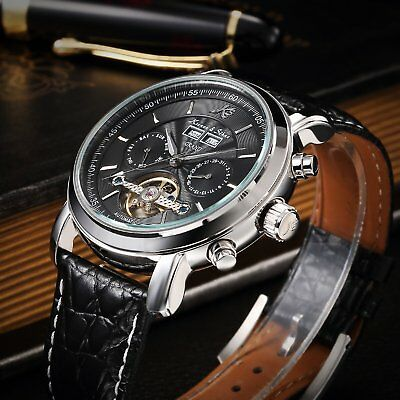 KS Tourbillon Steel Case Calendar Men's Automatic Mechanical Leather Strap Watch