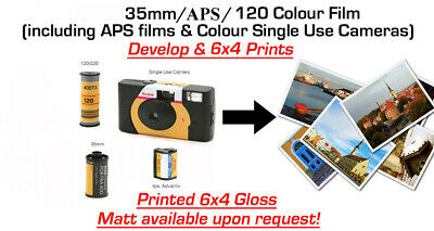 "35mm, Disposable Camera or APS COLOUR Film Developing to 6""x 4"""