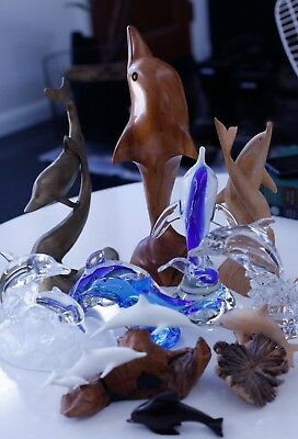 HUGE DOLPHIN COLLECTIBLES LOT sculptures / figurines GLASS wood METAL john perry