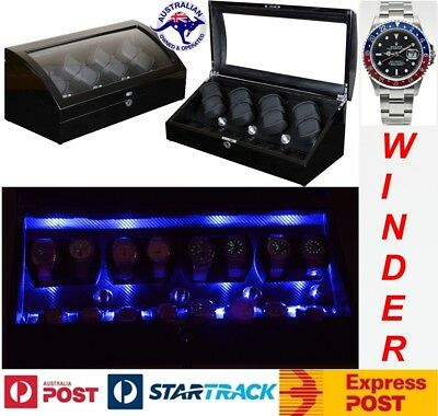 """Luxury Display Automatic Watch Winder for 8 watches+8 -Pluto-8+8-LED """"Star Wars"""""""
