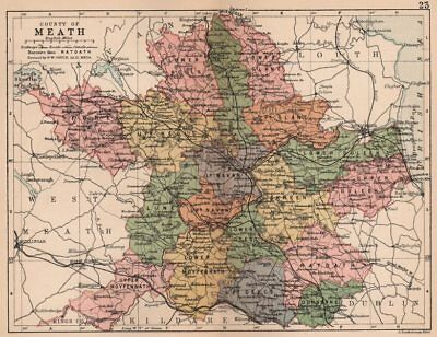 COUNTY MEATH. Antique county map. Leinster. Ireland. BARTHOLOMEW 1882 old