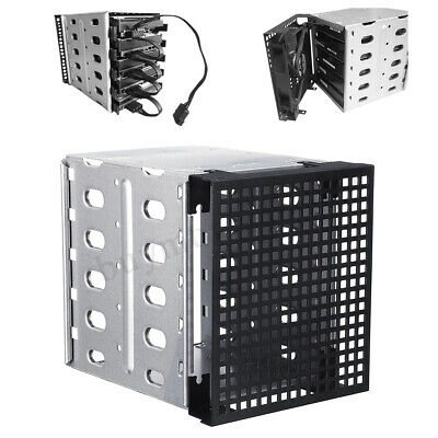 5x 3.5'' SATA SAS HDD Hard Drive PC Cage Tray Caddy Rack With Fan Space Au