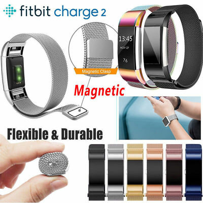 Magnetic Milanese Stainless Steel Watch Band Strap For Fitbit Charge 2 UK Y5