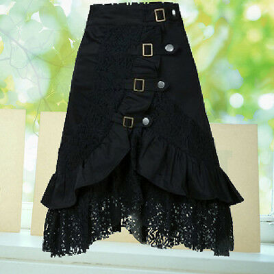 KF_Women Steampunk Gothic Style Black Lace Splicing Metal Button Buckle Skirt