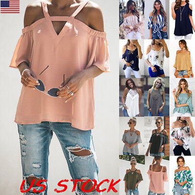 USA Womens Summer Casual Off Shoulder Blouse Ladies Loose T Shirt Tops Plus Size